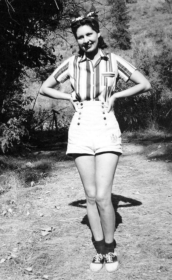 1940s vintage fashion style found photo girl in shorts casual sports wear shirt striped saddle shoes bobby socks war era style hair etc.