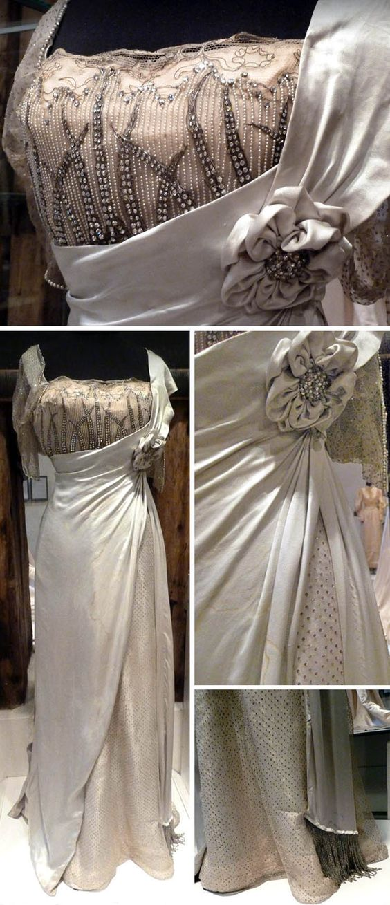 """Silk satin and mousseline ball gown embroidered with pearls, artificial gemstones and glitters. Fashion house Worth, Paris, 1904."" (from museum plaque next to gown) Fabulous photos from the Bernina blog and Lynetter on Flickr."
