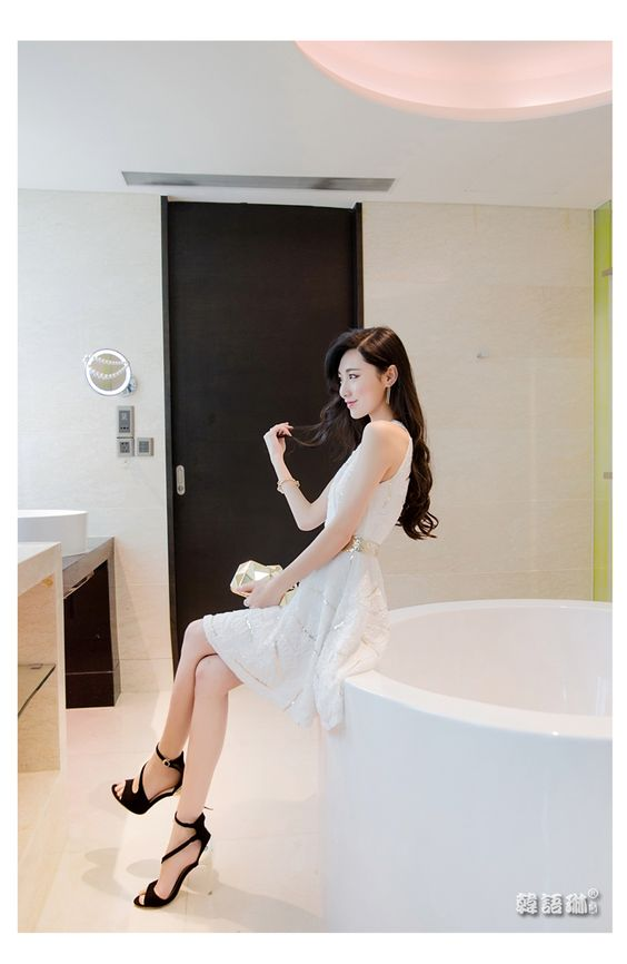 韩语琳空间2016夏装新款女装韩版修身V领时尚亮片绣花雪纺连衣裙-tmall.com天猫