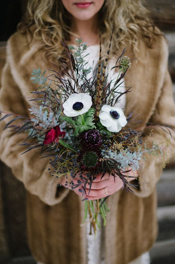 Winter bouquet with anemones | Bellamint Photography | see more on: http://burnettsboards.com/2014/03/snowy-rustic-perfectly-styled-engagement-shoot/