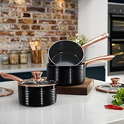 Tower Linear Saucepan Set With Easy Clean Non Stick Ceramic Coating Aluminium White And Rose Gold Rose Gold Kitchen Copper Kitchen Accessories Gold Kitchen