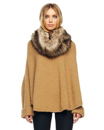 Collar Poncho by MICHAEL Michael In Pearl color. Kors at Neiman Marcus. As long as that fur is fake, I would wear this for the rest of my life.