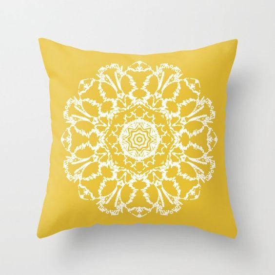 Yellow Mandala Pillow Cover - Mustard Yellow Pillow Cover - Modern Home Decor - Accent Pillow - Decorative Pillow - Aldari Home by AldariHome on Etsy