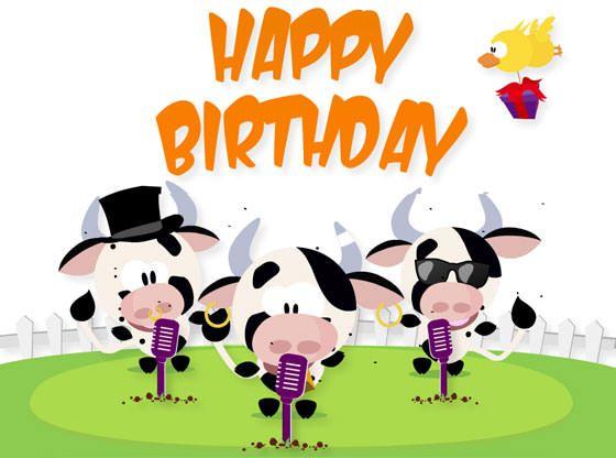 Geburtstagsgruss Mit Singenden Kuhen Animierte Geburtstagskarten