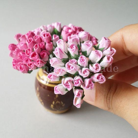 Dollhouse Plant Flower Campanula Model Kid Toy 1//12 Miniature Craft Pink