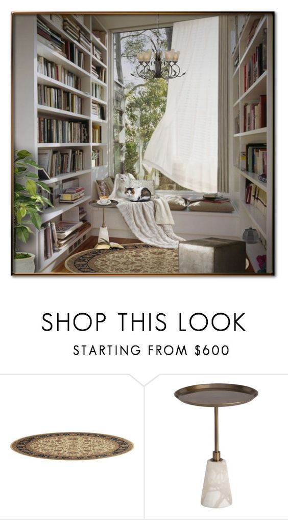 """READING NOOK"" by signaturenails-dstanley ❤ liked on Polyvore featuring interior, interiors, interior design, home, home decor, interior decorating, Arteriors and Vaxcel Lighting"