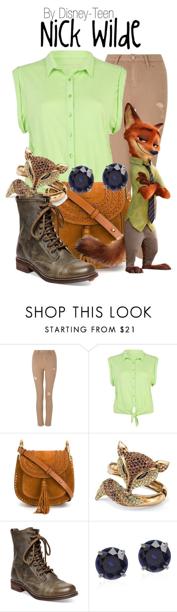 """Nick Wilde"" by disney-teen ❤ liked on Polyvore featuring Miss Selfridge, River Island, Chloé, Palm Beach Jewelry, Steve Madden, disney, disneybound, disneyfashion and zootopia:"