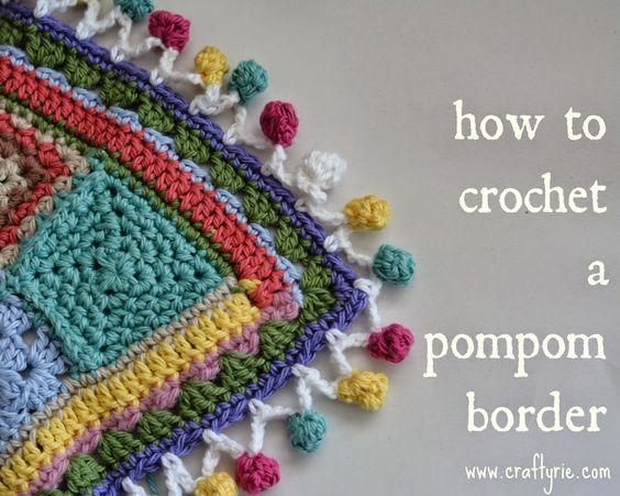 How To Crochet A Pompom Border Tutorial - (craftyrie) thanks so xox ☆ ★   https://uk.pinterest.com/peacefuldoves/