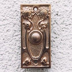 copper polished, patinated and unvarnished door bell