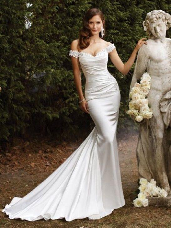 Spaghetti Straps A-Line Silk Charmeuse Wedding Dress with Ornate ...