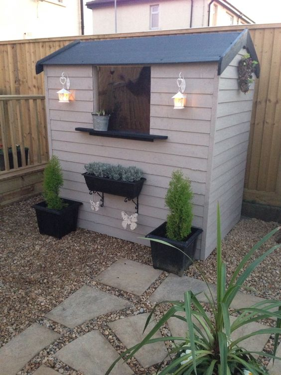 Sheds decoration and paint on pinterest for Cheap small garden sheds