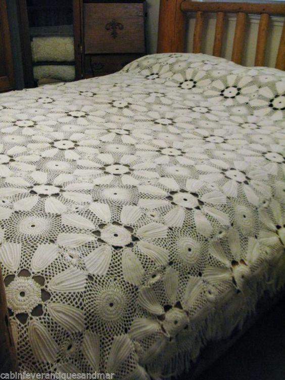 Vintage Off White Crochê Colcha Colcha tipo coverlet desperdiçares Dossel Rei Rainha Full 100x84