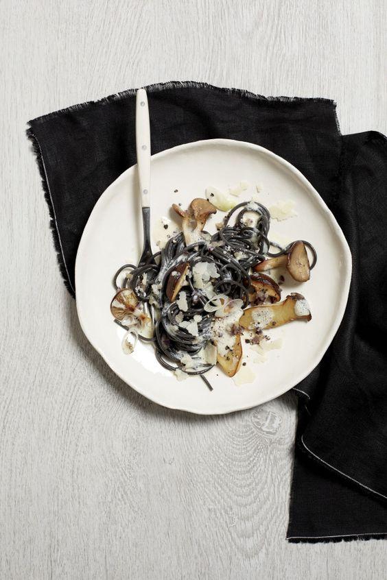 // Black Spaghetti with Mushrooms and Parmesan
