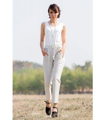 Sanah Vertical Slim Cotton Pants, Grey