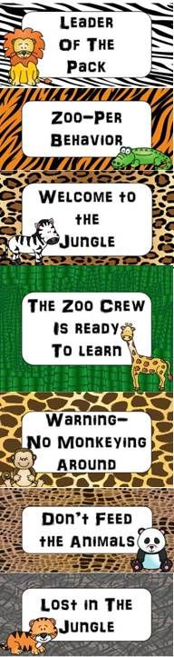 Zoo Animals Themed Behavior Management Clip Chart {Jungle Safari}