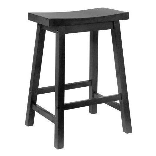 Kitchen Counter Wood Stool Bar Chair Saddle Seat Retro Height Step