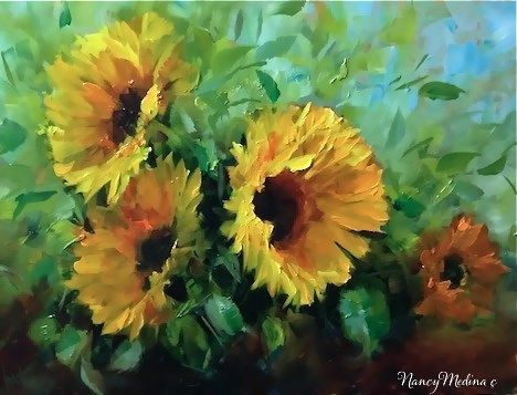 "Daily Paintworks - ""Day 24 ~ Fall Garden Sunflowers and Some Special Studio Visitors by Floral Artist Nancy Medina"" - Original Fine Art for Sale - © Nancy Medina"