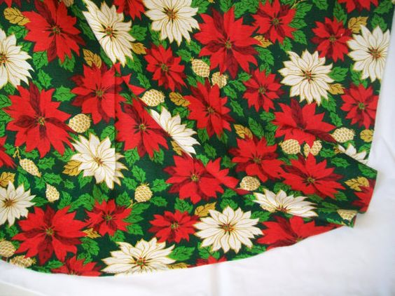Christmas Long Tablecloth Barkcloth Type Fabric by pinkpainter, $18.50