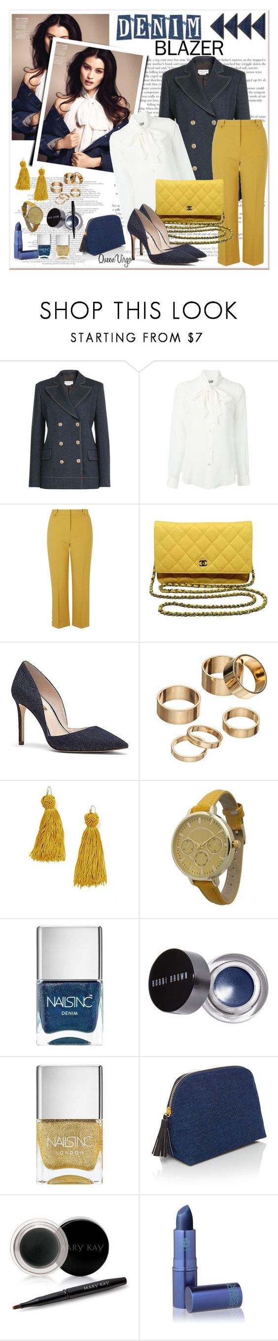 """Denim Blazer"" by queenvirgo ❤ liked on Polyvore featuring Sonia Rykiel, Moschino, Topshop, Chanel, Vince Camuto, Apt. 9, Vanessa Mooney, Olivia Pratt, Nails Inc. and Bobbi Brown Cosmetics"