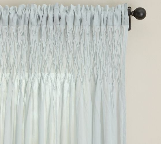 Smocked Cotton Voile Pole Pocket Drape, 42 x 84