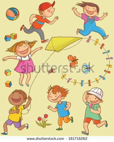 Happy Children Running Outside with the Kite. Summer activities. Children illustration for School books, magazines, advertising and more. Separate Objects. VECTOR. - stock vector