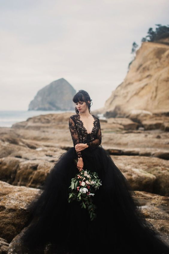 Stunning Black Lace & Tulle Unique Wedding Dress