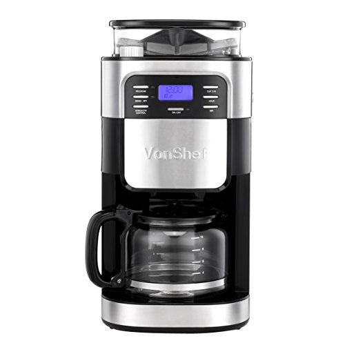 Coffee Maker Built In Filter : VonShef 900W 10 Cup Digital Filter Coffee Maker with Built-In Grinder and Reusable Filter Make ...