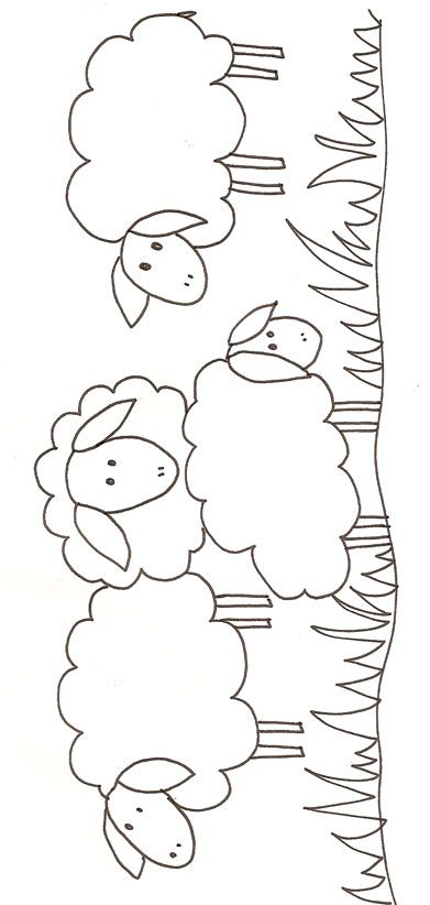 Applique sheep pattern~ put at the bottom of a girl's jumper with punch yarn. http://www.punchneedlemarketplace.com/