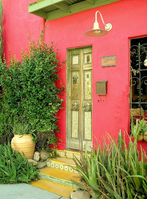 A colorful residence in the historic Adobe Row district, Tucson Arizona: