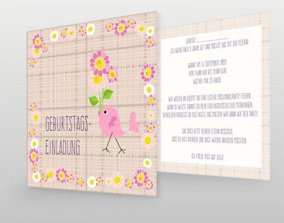 #Geburtstag #Kinder #Birthday #Rosa #Pink #selbstgestalten #creativ #Karte #einladung #girl #mädchen #