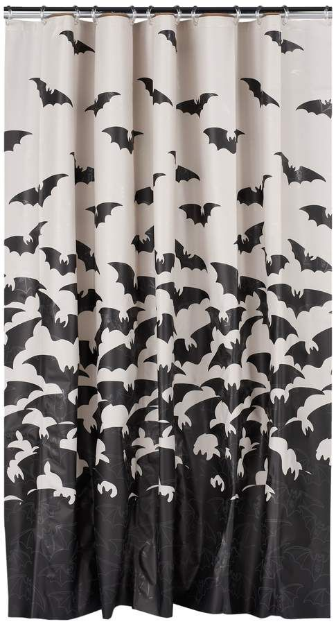 Celebrate Halloween Together Glowing Bats Shower Curtain With