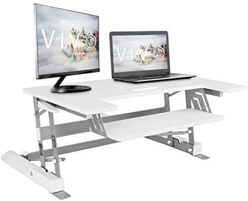 Amazon Com Vivo Height Adjustable Standing Desk Sit To Stand Gas Spring Rise Adjustable Standing Desk Standing Desk Converter Adjustable Height Standing Desk