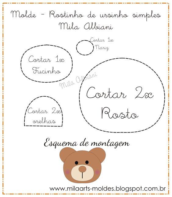 Rostinho de urso, para chaveiro, patchwork...: Felt Pattern, Moldes De Feltro