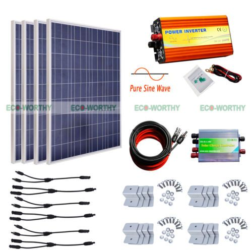 1000w Pure Sine Wave Inverter W 400w 4100w Solar Panel Kit For Home Appliances Solar Panel Kits 12v Solar Panel Solar Panels
