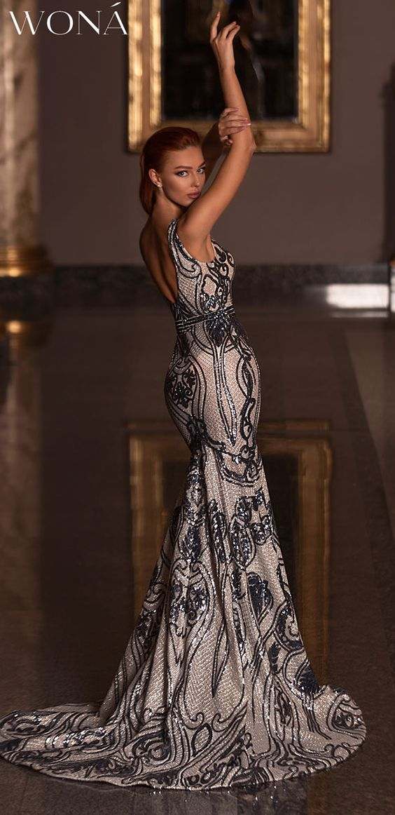 Wona Evening Dresses -20103 Euphoria Collection | Classy long mermaid sleeveless wedding guest gown in elegant metallic fabric and stunning pattern | Fashion Lovers Rejoice: WONÁ Evening Dresses 2020 Are Here #veningdress #eveninggown