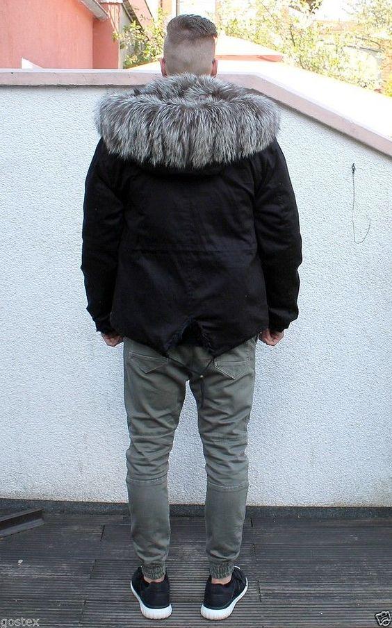 Parka Herren Pelzmantel Fuchs men fur coat fox Куртка Мужчины schwarz M/L SALE! in Kleidung & Accessoires, Herrenmode, Jacken & Mäntel | eBay