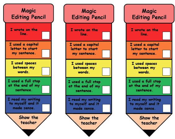 Magic Editing Pencil {Free} --- Let the magic editing pencil do the reminding!  You'll see students' work once they have made sure of the following: - write on the line - used a capital letter - used finger spaces - used a full stop or punctuation mark - read over their work  There are 2 versions.