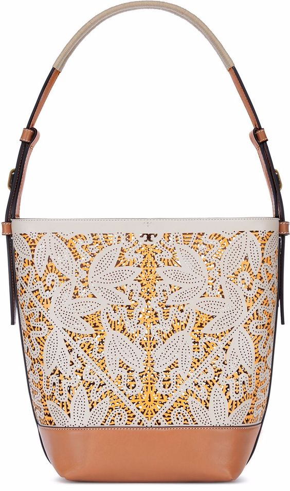 Perforated Hobo in White and Marigold