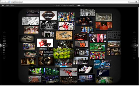 NIKE Greater China Brand Design Studio showcase website. The site archives and organizes Nike's GCBDS work by year and design format (i.e. packaging, event, in-store, etc.).