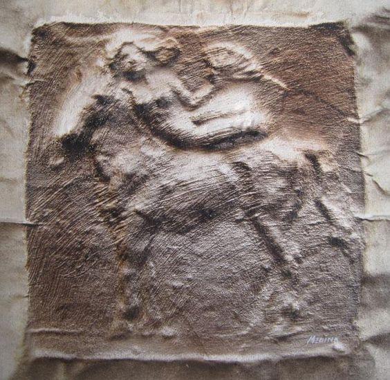 """Enrique Medina  """"Mujer y caballo""""  Acrílico sobre tela  20 X 20 cms.  http://www.portondesanpedro.com/ver-producto.php?id=11729"""