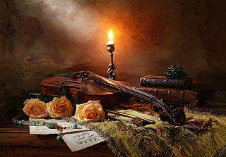 Натюрморт со скрипкой и лучом света