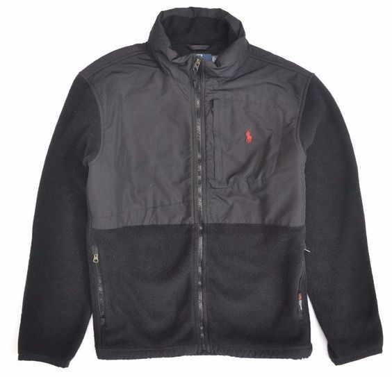 Mens Polo Ralph Lauren Black Polartec Fleece Jacket Polo Pony with ...