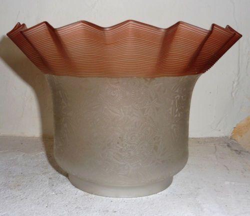 Rare Enorme Tulipe Globe Shade Lampe Petrole Huile Cristal Degage Acide Lampa Naftowa Lampy