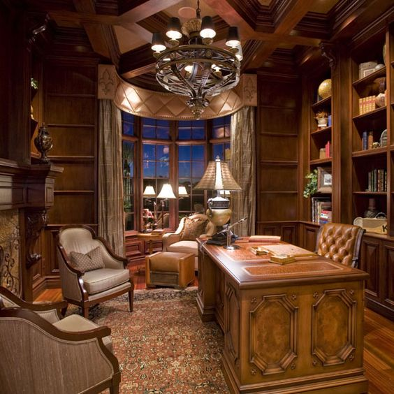 Classic Study Room Design: Traditional Study With Coffered Ceiling & English Paneling