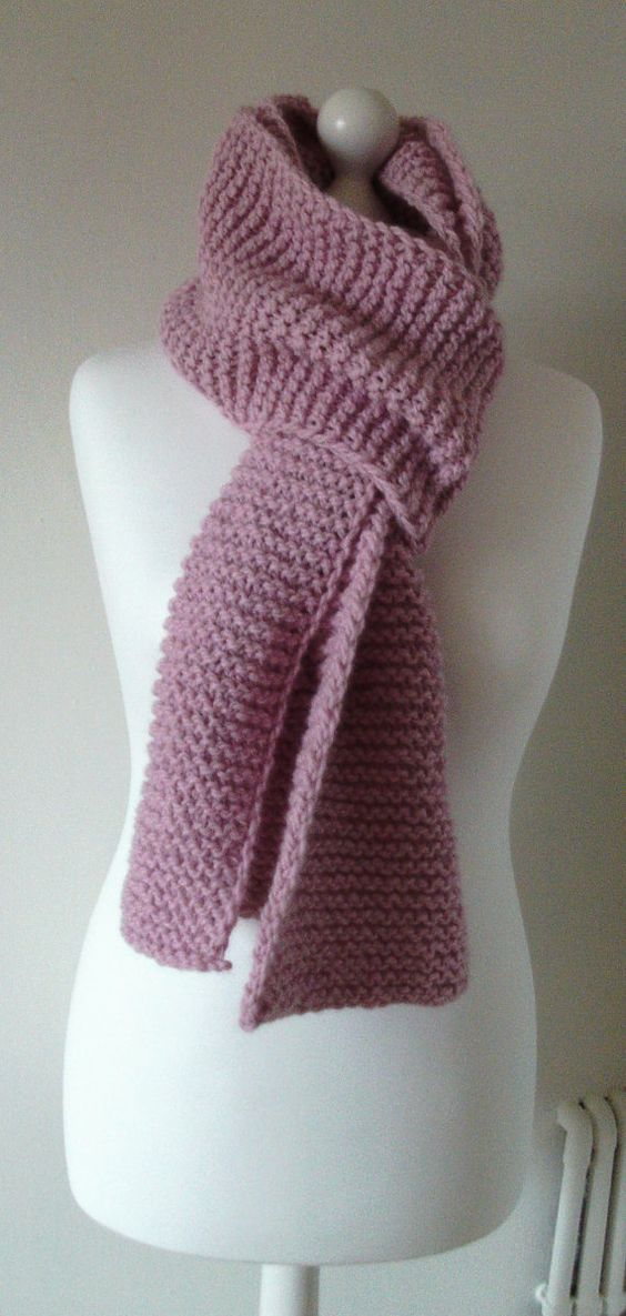 PInk Alpaca Wool MIx Scarf Hand Knitted by Sweetlittleflower