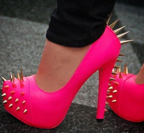 Neon spiked heels!! Hate to be kicked by these! | kick ass shoes