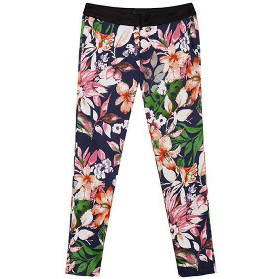 Floral Print Blue Leisured Blue Pants ($81) ❤ liked on Polyvore