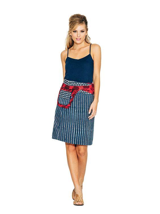 Rosanna Skirt Long - Indigo Dots/Stripes