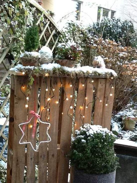 weihnachtsdeko im garten deko winter pinterest h te. Black Bedroom Furniture Sets. Home Design Ideas