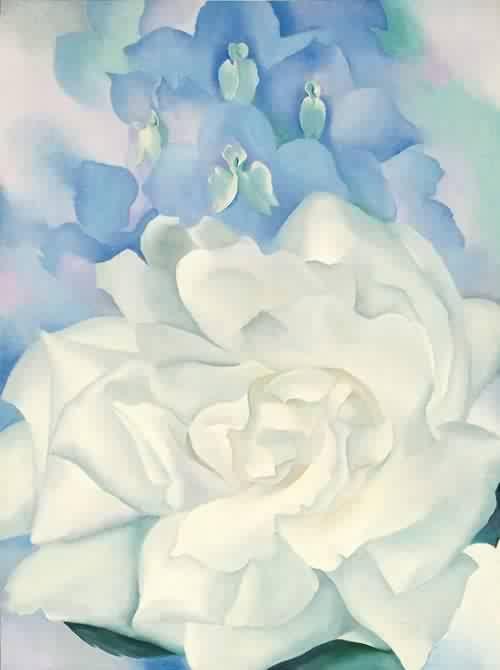 White Rose with Larkspur - Georgia O'Keefe #referente #referentevisual #referentetematico #referenteconceptual #dibujo #pintura: